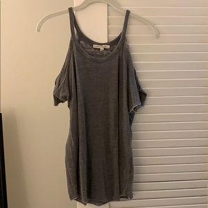 Express open shoulder grey top